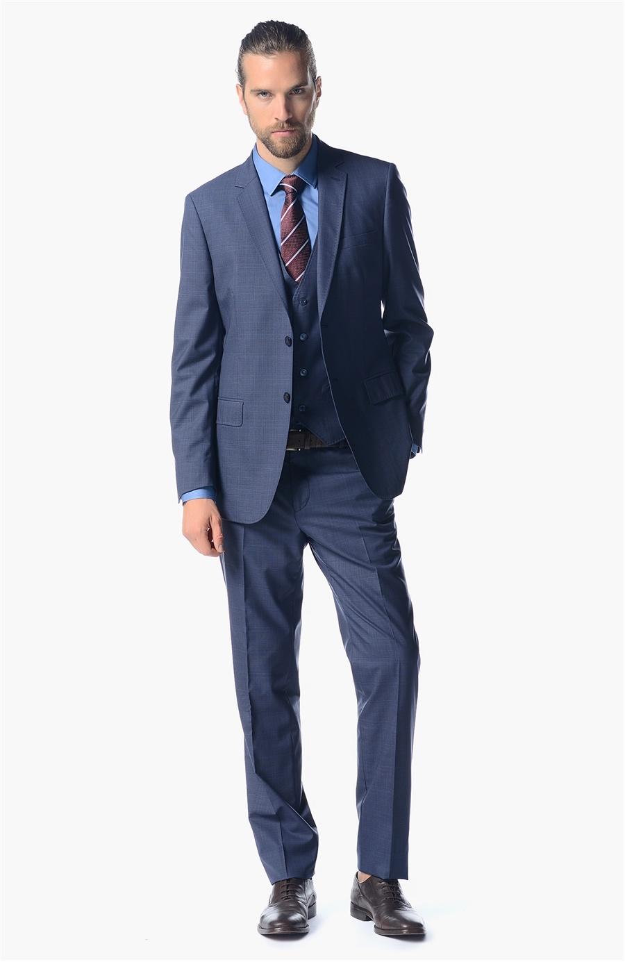 2019 Lacivert Yelekli Takım Elbise