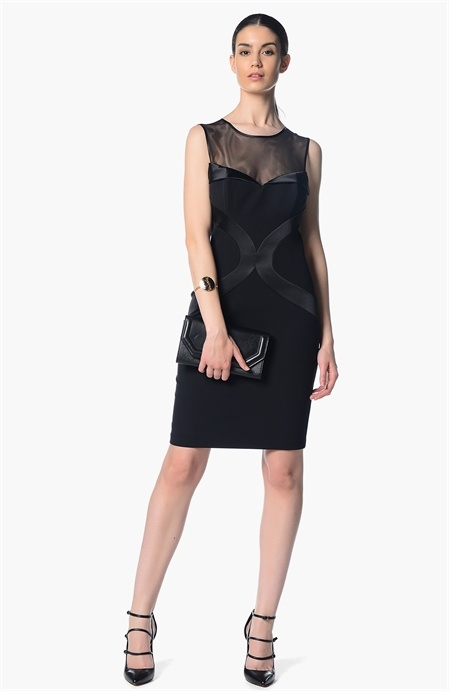 Tül ve Saten Detaylı Elbise Network