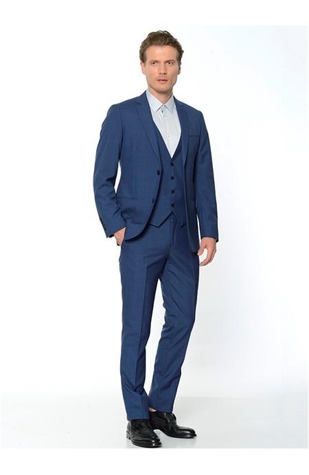 Royal Mavi Slim Fit Yelekli Takım Elbise Network