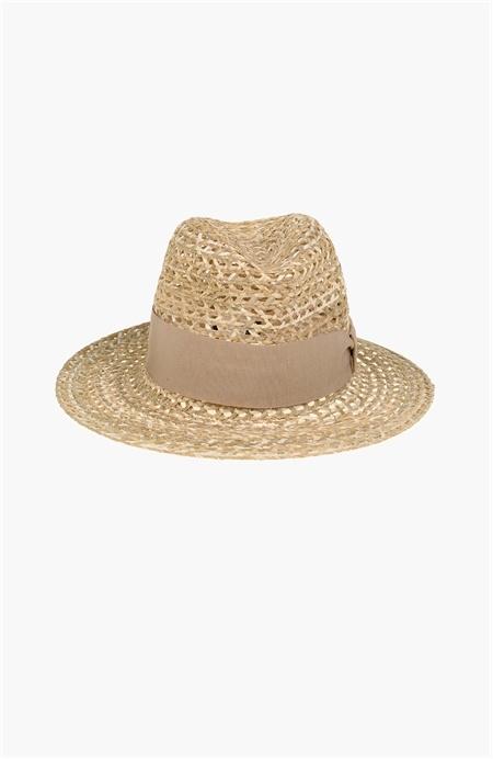 Kurdele Detaylı Hasır Şapka Network