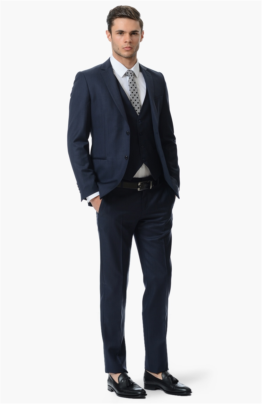 Lacivert Yelekli Takım Elbise 2019