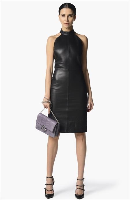 Sırt Detaylı Deri Elbise Network