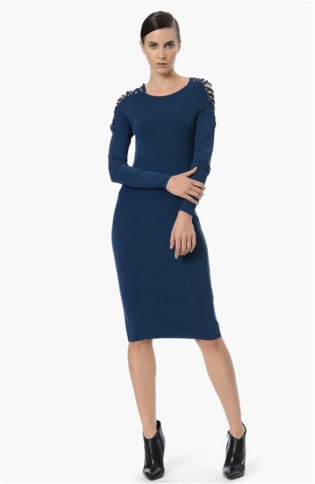 Omuz Detaylı Triko Elbise Network
