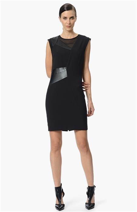 Deri ve Şifon Miksli Elbise Network