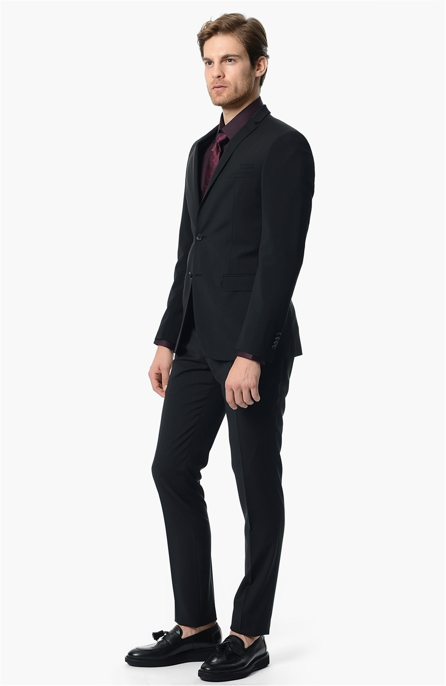 Siyah Takım Elbise Bordo Kravat