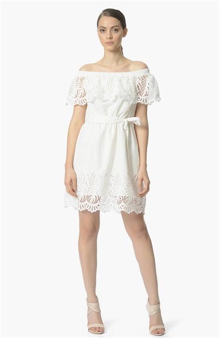 Network Beyaz Straplez Elbise