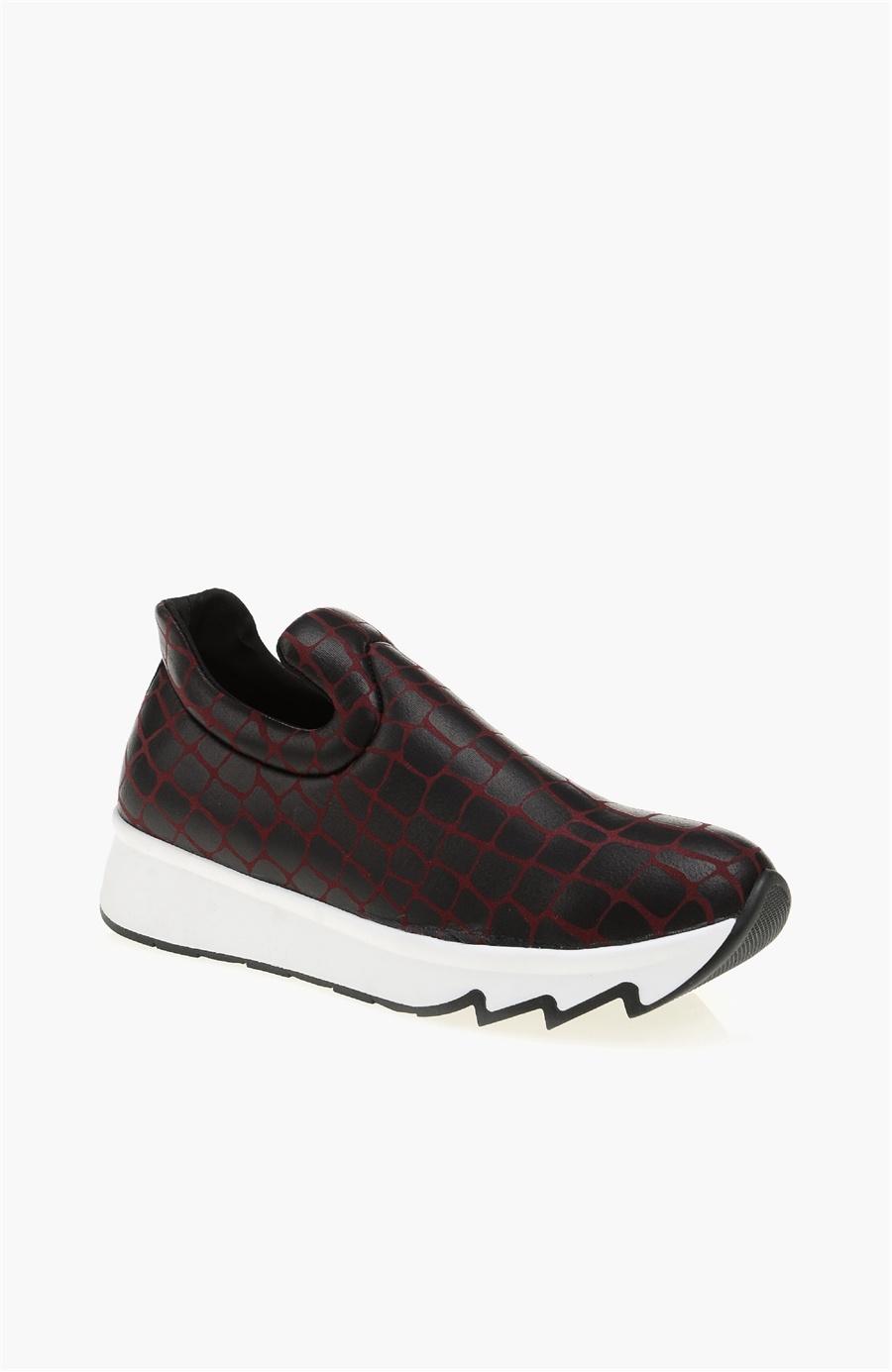 Desenli Bordo Sneaker - Renk Bordo - Network