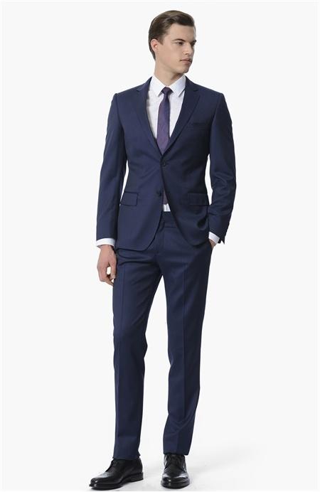 Network Çizgili Lacivert Takım Elbise