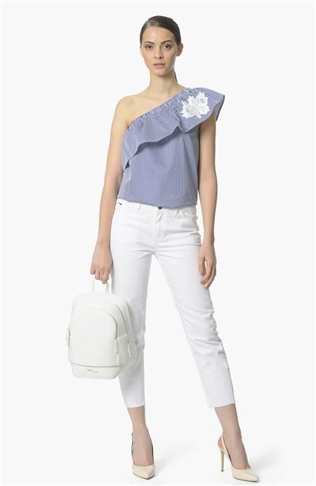 Lacivert Beyaz Tek Omuzlu Bluz Network
