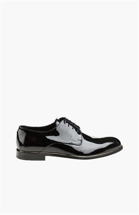 Bağcıklı Siyah Rugan Ayakkabı Network