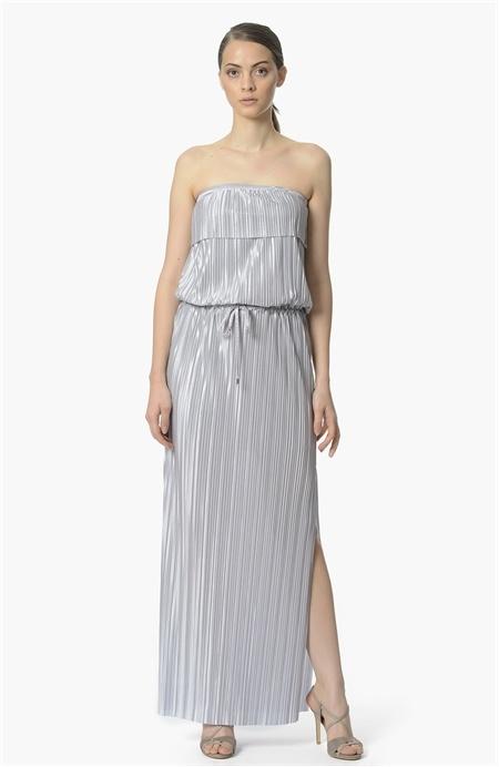 Gümüş Rengi Straplez Elbise Network