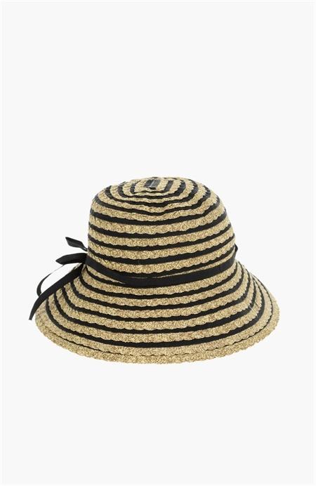 Siyah Bej Hasır Şapka Network