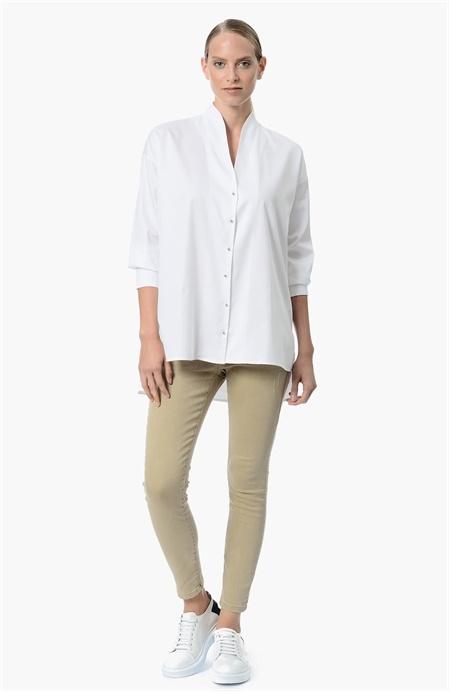 Beyaz Dik Yaka Gömlek Network