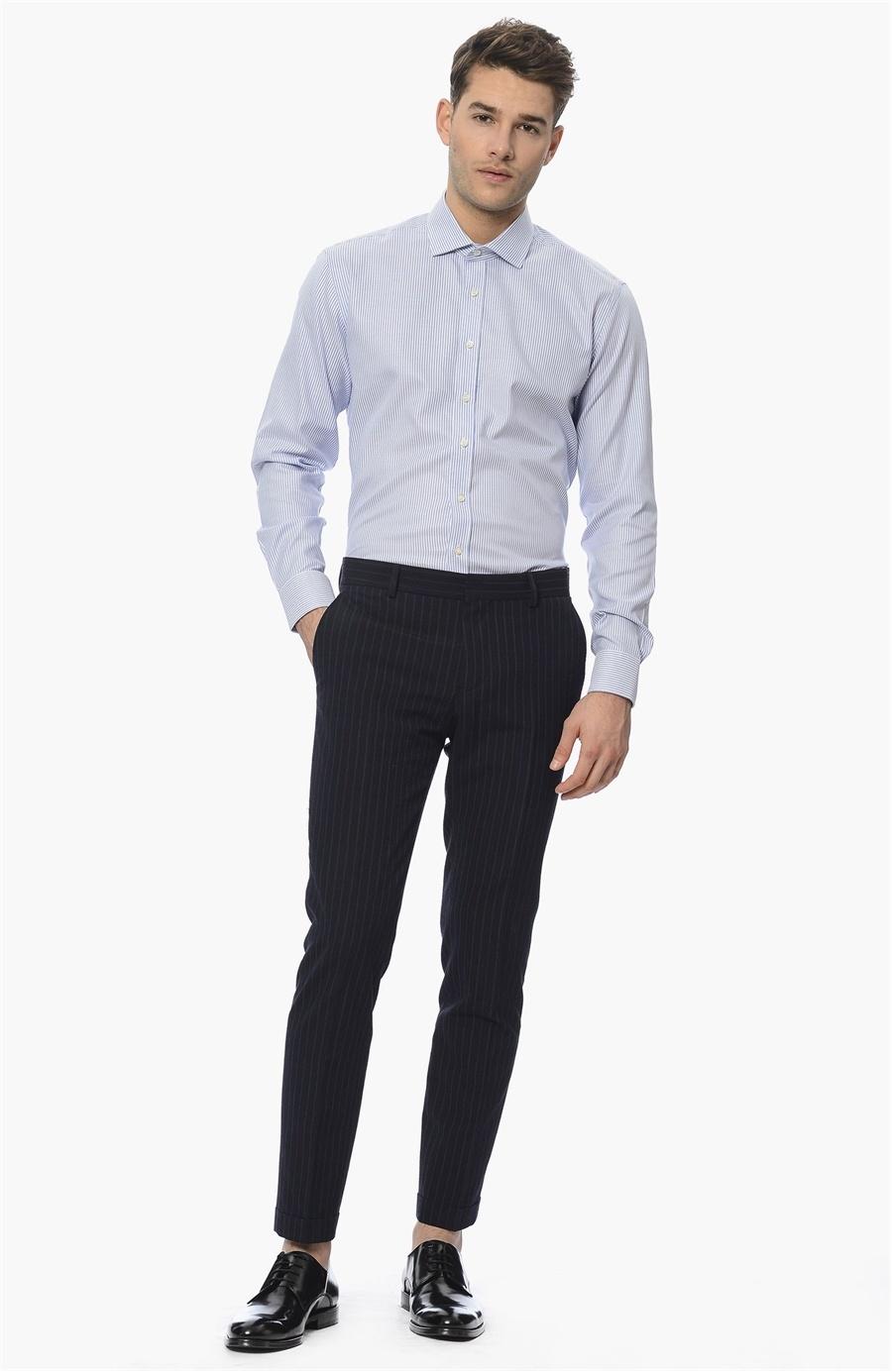 0133d830b9d6e Beyaz Lacivert Çizgili Gömlek - Renk Beyaz Lacivert - 75509