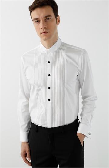 Network Slim Fit Beyaz Şerit Detaylı Smokin Gömleği
