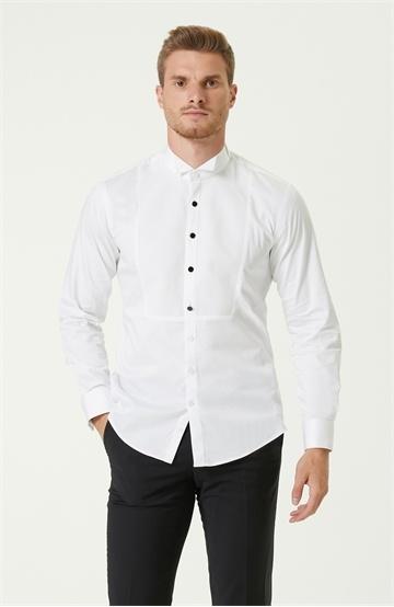 Network Slim Fit Beyaz Dokulu Smokin Gömleği
