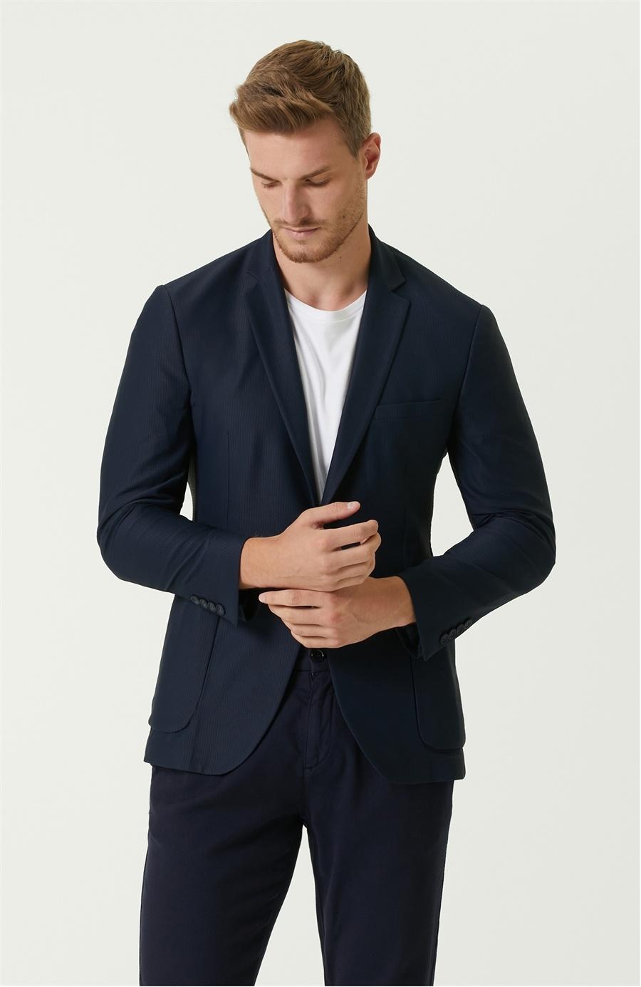 Drop 6 Slim Fit Lacivert Kelebek Yaka Jersey Ceket